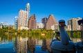 Austin Texas Downtown Skyline Reflection Sunset Golden Hour with Swan Floating on Town Lake Royalty Free Stock Photo