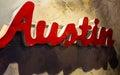 Austin Texas Metal Sign Hanging Wall close up angle