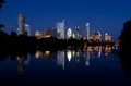 Austin texas by night time picture of downtown Stock Photo