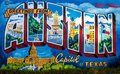 AUSTIN, TEXAS - NOVEMBER 5, 2017 - Greetings from Austin mural on the wall of Roadhouse Relics on South First Street. The mural wa Royalty Free Stock Photo