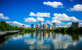 Austin Texas Riverside Pedestrian Bridge Town Lake Reflections on nice Summy Day Royalty Free Stock Photo