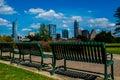 Austin texas skyline cityscape green field park Royalty Free Stock Photo