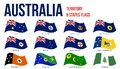 Australia All States And Territory Flags Waving Vector Illustration on White Background