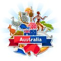 Australia background design. Australian traditional sticker symbols and objects