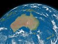 Australia on blue earth planet isolated black background elements of this image furnished by nasa Royalty Free Stock Photography