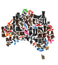 Australia continent made of  shoes Stock Image