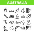 Australia Country Nation Cultural Icons Set Vector