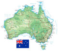 Australia - detailed topographic map - illustration Royalty Free Stock Photo