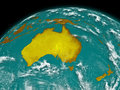 Australia on earth planet isolated black background elements of this image furnished by nasa Stock Photography