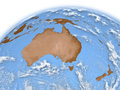 Australia on earth planet isolated white background elements of this image furnished by nasa Stock Images