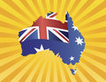Australia Flag in Map Silhouette on Sun Rays Royalty Free Stock Image