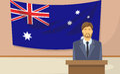 Australia flag tribune speech businessman politic flat vector illustration Royalty Free Stock Photo