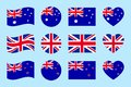 Australia, Great Britain, New Zealand flags vector set. Flat isolated icons. Australian, British, New Zealands flags