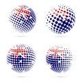 Australia halftone flag set patriotic vector.