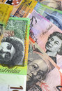 Australia hundred, fifty, twenty, ten and five dollar notes - Vertical. Royalty Free Stock Photo