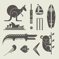 Australia icons vector set of various stylized Stock Photography