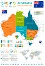 Australia - map and flag - infographic illustration