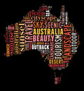 Australia map info text and graphic arrangement concept on black background word cloud Stock Images
