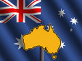 Australia map sign with flag Royalty Free Stock Photo
