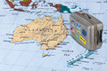 Australia map and travel case with stickers (my photos) Royalty Free Stock Photo