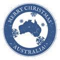 Australia map. Vintage Merry Christmas Australia.