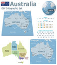 Australia maps with markers set of the political and symbols for infographic Stock Photo