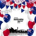 Australia National Day with Flags and Skyline Royalty Free Stock Photo