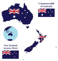 Australia and New Zealand Map Flag