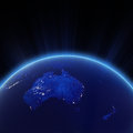 Australia and new zeland city lights at night elements of this image furnished by nasa Royalty Free Stock Photo