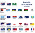 Australia and Oceania include Australasia, Micronesia, Melanesia and Polynesia vector countries flags Royalty Free Stock Photo