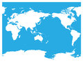 Australia and Pacific Ocean centered world map. High detail white silhouette on blue background. Vector illustration