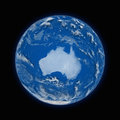 Australia on planet earth blue isolated black background highly detailed surface elements of this image furnished by Royalty Free Stock Photos