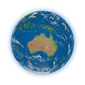 Australia on planet earth blue isolated white background elements of this image furnished by nasa Stock Photo