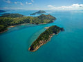 Australia s whitsunday islands dramatic helicopter view of the and surrounding seas in queensland Stock Image