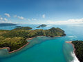 Australia s whitsunday islands dramatic helicopter view of the and surrounding seas in queensland Stock Photography
