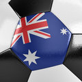 Australia soccer ball close up view of a with the australian flag on it Stock Image