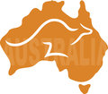 Australia a stylized map of with a kangaroo running across it the word aistralia is written on the map Stock Photos