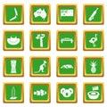 Australia travel icons set green
