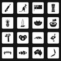 Australia travel icons set squares vector