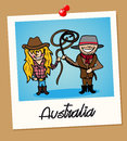 Australia travel polaroid people australian man and woman cartoon couple in vintage instant photo frame vector illustration Stock Images