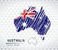 Australia vector map with flag inside isolated on a white background. Sketch chalk hand drawn illustration