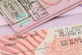 Australia visa in passport Royalty Free Stock Photo