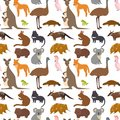 Australia wild animals cartoon popular nature characters seamless pattern background flat style mammal collection vector
