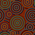 Australian aboriginal colorful geometric art concentric circles seamless pattern, vector Royalty Free Stock Photo