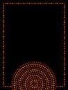 Australian aboriginal geometric art concentric circles frame in orange brown and black, vector