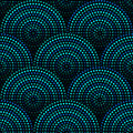 Australian aboriginal geometric art concentric circles seamless pattern in blue and black, vector