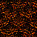 Australian aboriginal geometric art concentric circles seamless pattern in orange brown and black, vector
