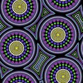 Australian aboriginal seamless vector pattern with dotted circles and crooked squares