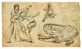 Australian aborigines dancing a musician playing didgeridoo and threatens them the marine crocodile each drawings consists of at Stock Photo