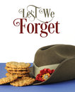 Australian army slouch hat and traditional Anzac biscuits with Lest We Forget text